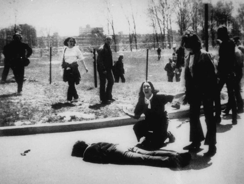 In this Pulitzer Prize-winning photo by John FIlo, bystander Mary Ann Vechio screams next to the body of Kent State student Jeffrey Miller, who was killed by Ohio National Guard gunfire on May 4, 1970.